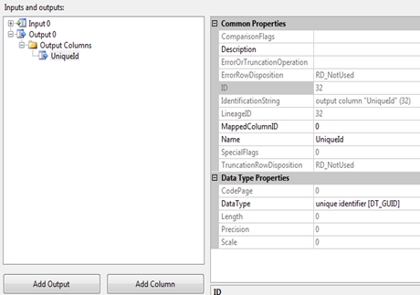 SSIS NEWID() Script Add Column data type